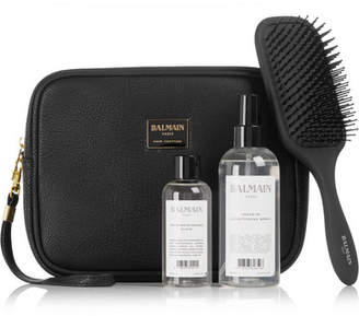 Couture Balmain Paris Hair Limited Edition Textured-leather Cosmetics Case Gift Set - Colorless