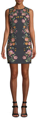 Alice + Olivia Nat Embroidered Cotton-Stretch Mini Cocktail Dress