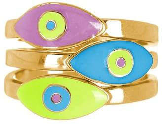 Sterling Forever Pastel Evil Eye 14K Yellow Gold Plated Ring Set