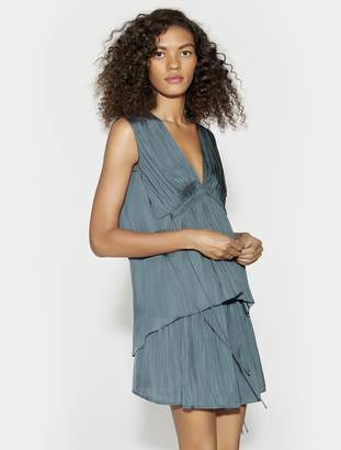 Halston V NECK FLOWY TOP WITH RUCHED WAIST