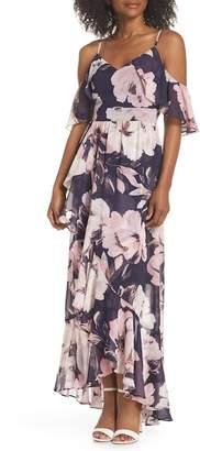 Vince Camuto Print Cold Shoulder Chiffon Maxi Dress
