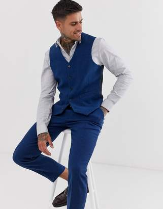 Design DESIGN wedding skinny suit waistcoat in blue wool mix twill