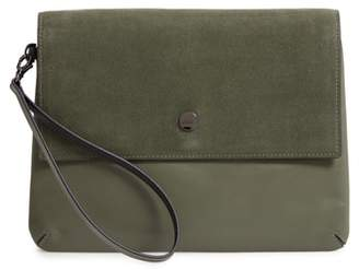 Lodis Los Angeles Raven Double Pouch Leather Clutch