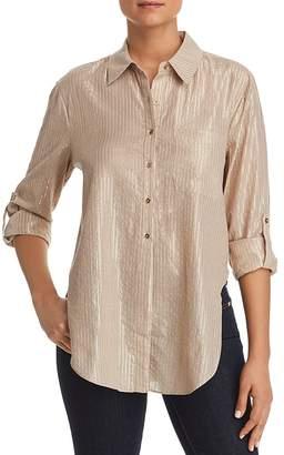 T Tahari Jazzie Metallic-Stripe Shirt