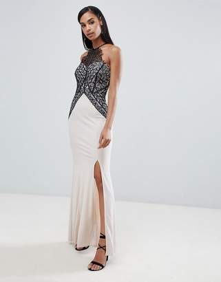 Lipsy high neck maxi dress with lace detail