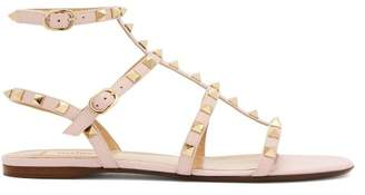Valentino Rockstud Flat Leather Sandals - Womens - Light Pink
