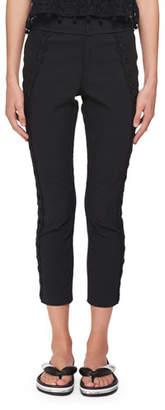 Isabel Marant Jobi Skinny-Leg Pants with Circle-Beaded Side Tux Detail