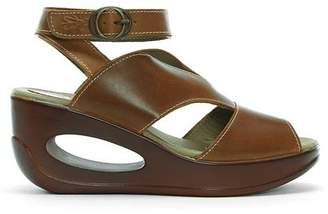 00021f36fde4 Fly London Hibo Leather Ankle Strap Wedge Sandals