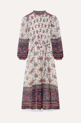Ulla Johnson Prisma Floral-print Fil Coupé Silk-blend Chiffon Midi Dress - Burgundy