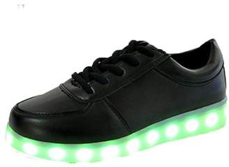 XILALU LED Light Lace up Luminous USB Charge Sport Sneaker Unisex Casual Shoes by
