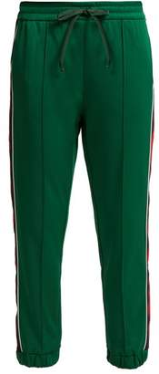 Gucci - Side Stripe Jersey Track Pants - Womens - Green