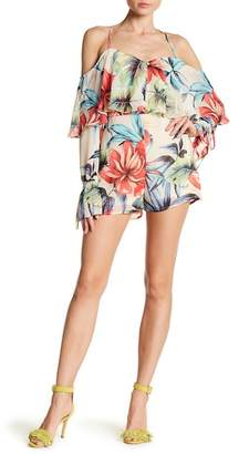 Wow Couture Patterned Cold Shoulder Long Sleeve Romper