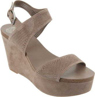 Vince Camuto Nubuck Leather Ankle Strap Wedges - Vessinta