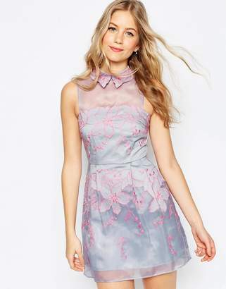 ASOS Contrast Embroidered Collar Organza Mini Skater Dress $122 thestylecure.com
