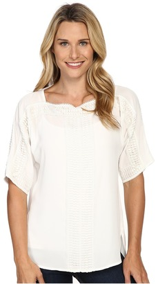 NYDJ Embroidered Peasant Blouse $128 thestylecure.com