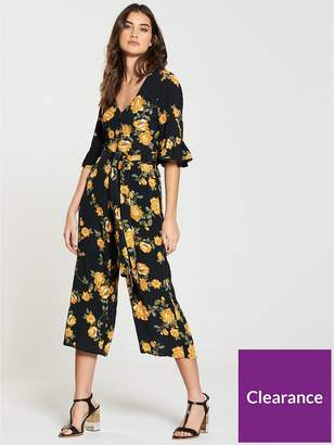 Miss Selfridge Arabella Floral Culotte Jumpsuit - Black/Print