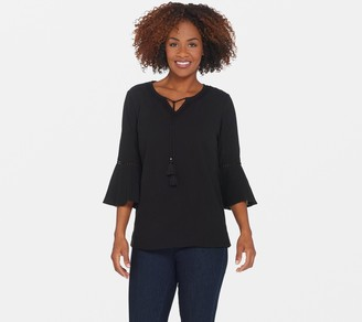 Denim & Co. Crinkle Gauze Bell Sleeve Top with Dot Lace Detail