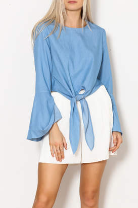 Lucy Paris Bell Sleeve Chambray Top