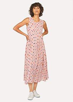 Women's Pink 'Scribble Spot' Pleated Midi Dress