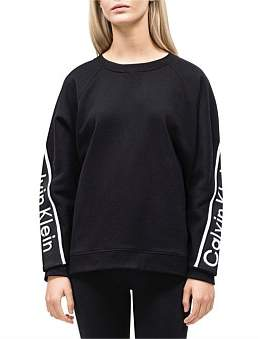Calvin Klein Cropped Long Sleeve Oversize Pullover W/ Logo Tape