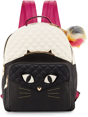 Betsey Johnson Cat Faux-Leather Quilted Backpack, Black/Bone $97 thestylecure.com