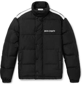 Palm Angels Striped Logo-Print Quilted Shell and Canvas Down Jacket - Men - Black