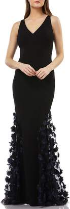 Carmen Marc Valvo 3D Floral Skirt Mermaid Gown