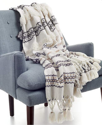 Martha Stewart Collection CLOSEOUT! Whim by Collection Cotton Textured Stripe Dune Throw, Created for Macy's