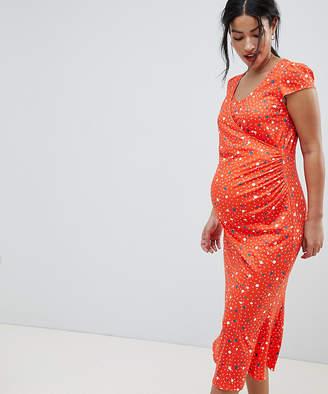 & You nursing midi dress with wrap front in polka dot print