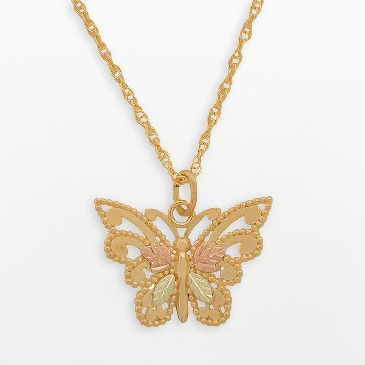 Black Hills Gold Tri-Tone Butterfly Pendant