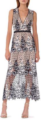ML Monique Lhuillier V-Neck Sleeveless Floral Lace A-Line Dress w/ Waist Detailing