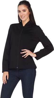 Susan Graver Ponte Knit Colorblock Zip Front Jacket