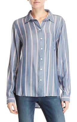 Beach Lunch Lounge Vertical Stripe Hi-Low Shirt