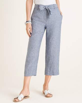 Chico's Chicos Belted Striped Linen Crops