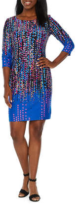 Chetta B BE BY 3/4 Sleeve Dots Sheath Dress
