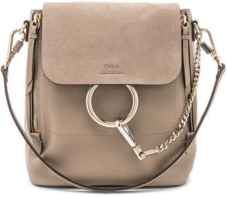 Chloé Small Faye Backpack Calfskin & Suede in Motty Grey | FWRD