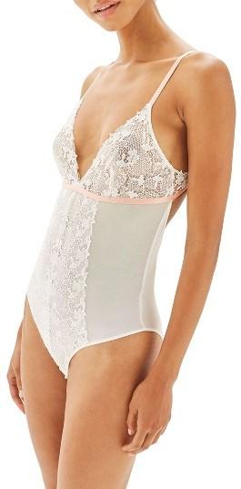 TopshopWomen's Topshop Bride Divine Lace Plunge Bodysuit