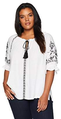 af93365711b32f Lucky Brand Women s Size Plus Embroidered Peasant TOP