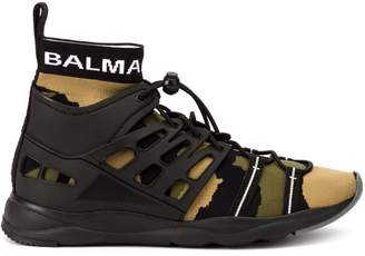Balmain leather-panelled sock sneakers