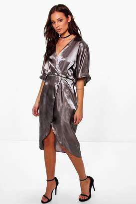 boohoo Aly Satin Wrap Drape Kimono Sleeve Midi Dress $42 thestylecure.com