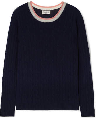 Paul & Joe La Belette Striped Cable-knit Cashmere Sweater - Navy