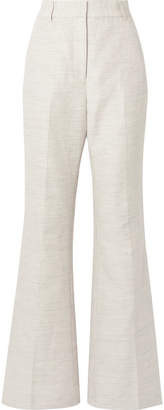 Rebecca Vallance Maya Cotton And Linen-blend Wide-leg Pants - Light gray