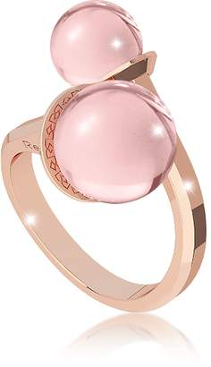 Rebecca Boulevard Stone Rose Gold Over Bronze Contrarié Ring w/Hydrothermal Pink Stones