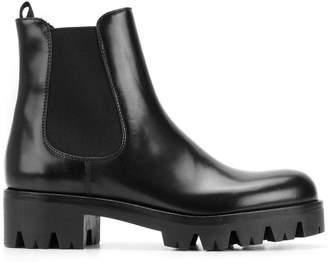 Prada Black Chelsea Leather biker boots
