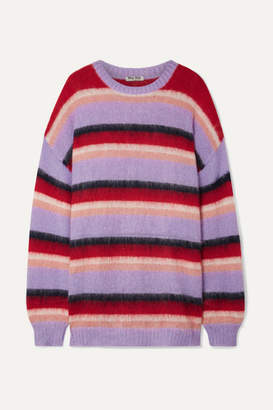 Miu Miu Oversized Striped Mohair-blend Sweater - Lilac