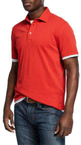 Men's Short-Sleeve Tipped Solid Polo Shirt