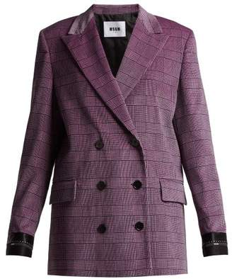 Msgm - Prince Of Wales Checked Velvet Blazer - Womens - Light Pink