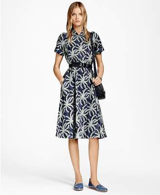 Palm Tree Print Cotton Sateen Shirt Dress $228 thestylecure.com