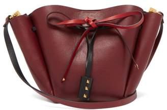 Valentino Go Logo Medium Leather Bucket Bag - Womens - Burgundy