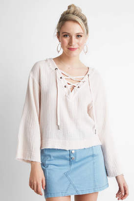 Cloth & Stone Gauze Bell Sleeve Lace Up Top